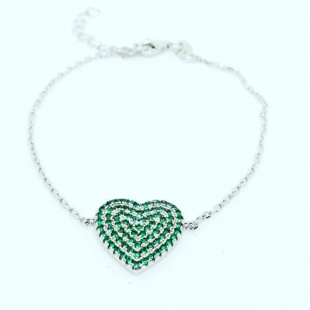bracciale cuore zirconi verdi