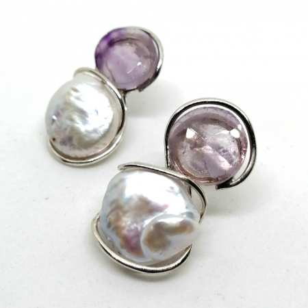 orecchini ametista e perle