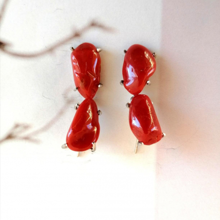 orecchini corallo rosso mediterraneo
