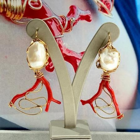 orecchini perle barocche e corallo