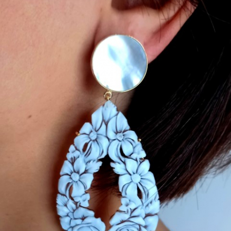 orecchini cammei floreali